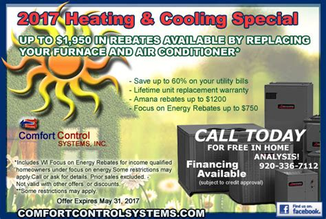 comfort control heating and air conditioning amana gas furnace sales and installation in green bay wi