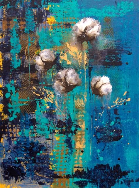 blue rain abstract painting decor canvas wall art flower