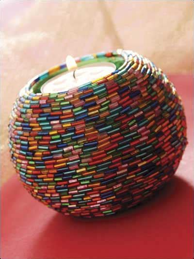 beaded home decor beading home decor rainbow beaded votive