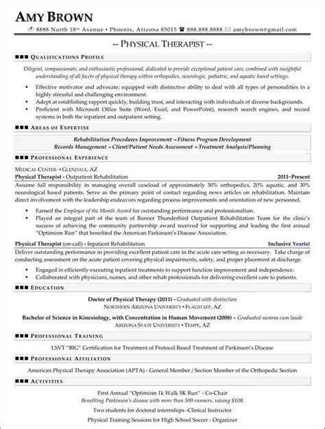 physical therapy resume format 1000 images about resumes on resume exles
