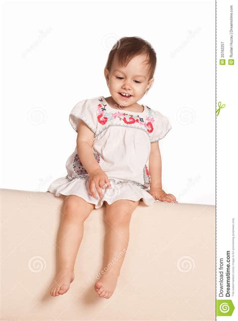 little girls sofa cute little girl on sofa royalty free stock photography