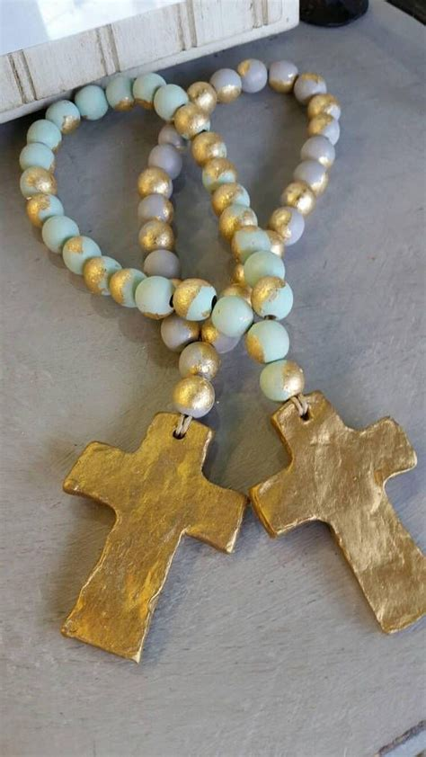 decor hacks blessing beads wood  handmade clay gold