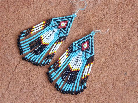 beaded feathers feather american beaded earrings authentic