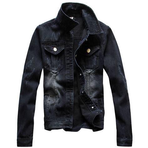 Denim Jaket Black Pria Cowok free shipping vintage jacket autumn sleeve denim black wash jean jacket maxi size s 4xl