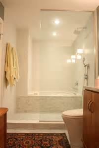 neat idea for long narrow baths to make them seem bigger twinline tub shower combo apartment therapy