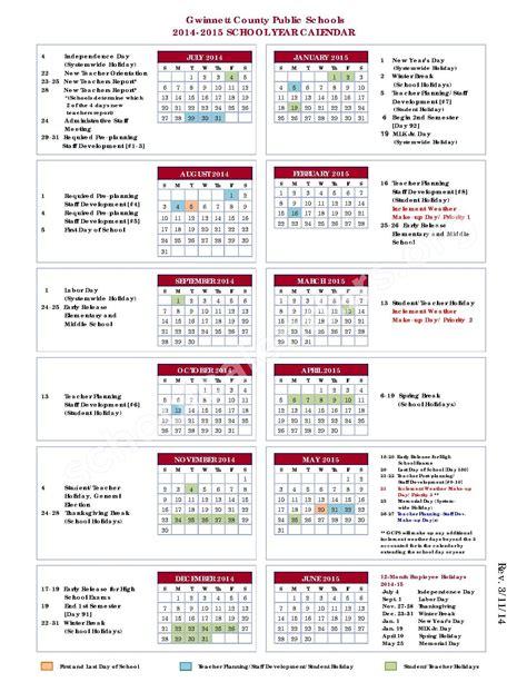calendars for to make in school 2014 2015 school calendar gwinnett county school