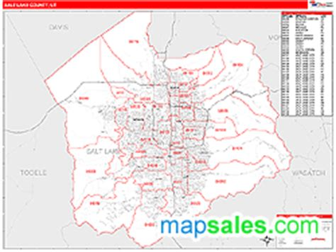 zip code map salt lake county salt lake county ut zip code wall map red line style by