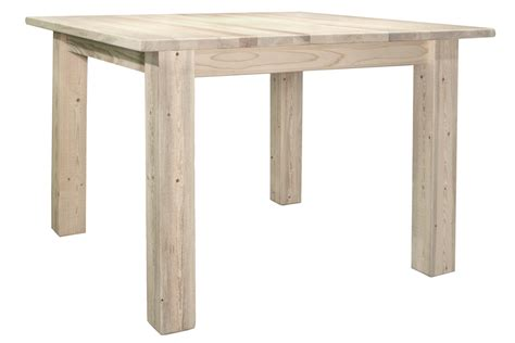 Square Dining Table For 4 Pine Log Furniture Lacquered Homestead Square 4 Post Dining Table Black Forest Decor