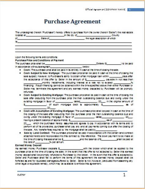 ms word purchase agreement template word document templates