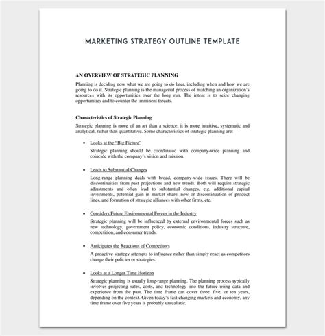 Marketing Plan Outline Template 16 Exles For Word Pdf Format Content Strategy Outline Template