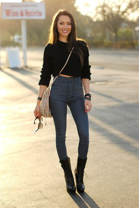 jean outfits on pinterest crop top and high waist jeans street fashion