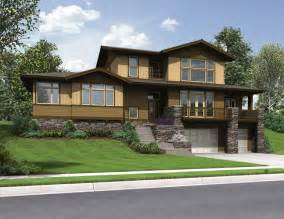The renicker craftsman styled sloped lot house plans