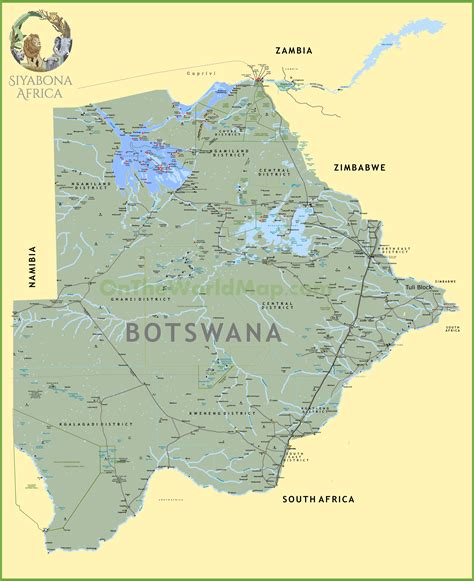 botswana map large detailed map of botswana