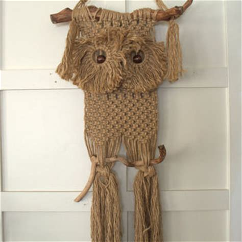 1970s Macrame - vintage macrame wall hanging 1970s owl from 2ndhandchicc