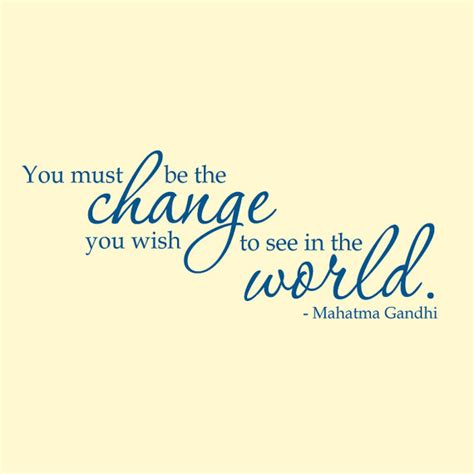 Wall Art Quote Stickers wall decal gandhi be the change vinyl wall art quote sticker