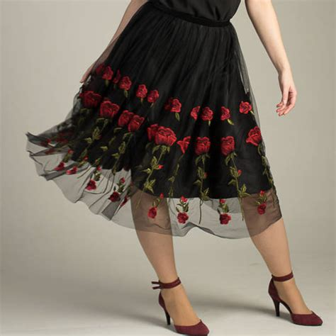 Handmade Skirts - handmade rosie skirt with tulle embroidered roses by