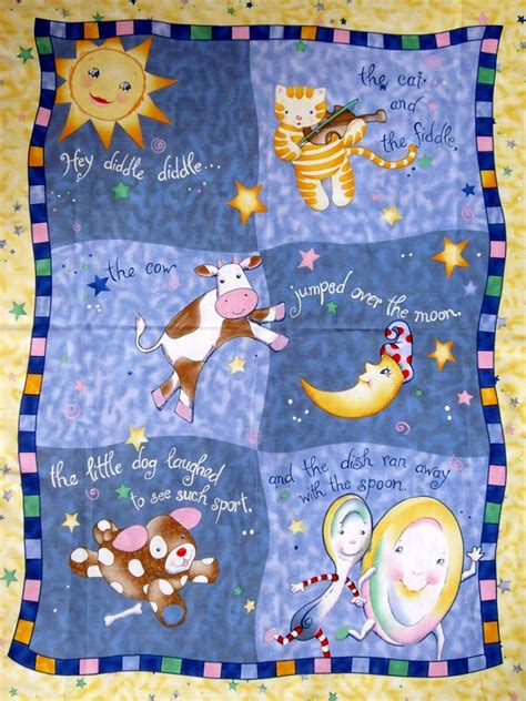 Cot Panels For Quilting by Hey Diddle Diddle Fabric Panel Baby Cot Quilting Sewing Ebay
