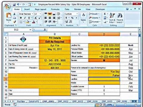 Salary Records Ms Excel Creating Salary Slips And Investment Records