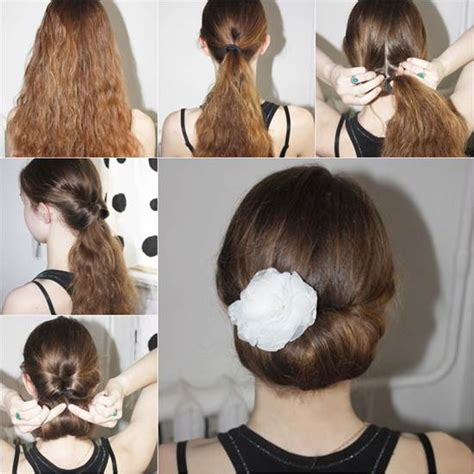 instructions on how to do a curly dressy chin lenght hairstyle how to diy easy and elegant bun hairstyle