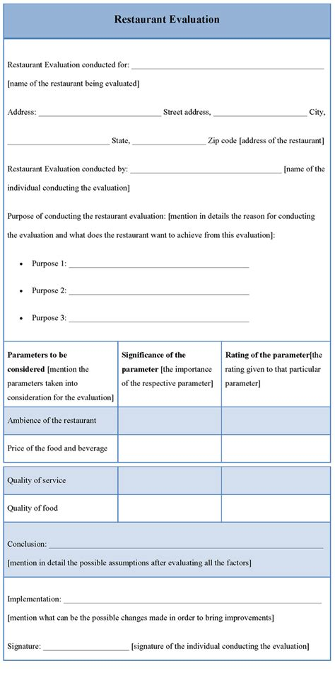 evaluation template evaluation template for restaurant template of restaurant