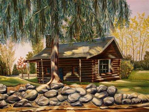 Log Cabin Paintings by The Log Cabin Painting By Hauk