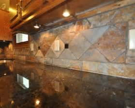 These slate backsplash tiles are very large and arranged in a nice