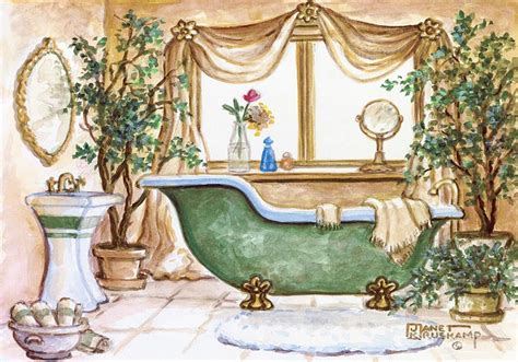 bathtub paintings vintage bathtub iii one of janet krusk s original oil