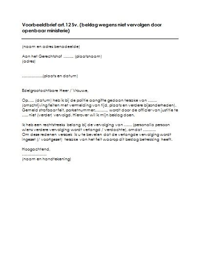 brief opstellen in opdracht artikel 12 procedure voorbeeld brief