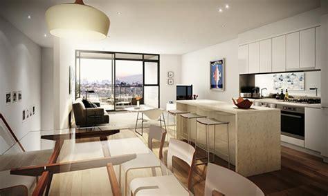 Open Floor Plans With Large Kitchens pi 232 ce de vie moderne dans un petit appartement de ville