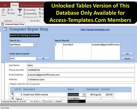 desktop services template for access 2010 access database computer repair shop software templates