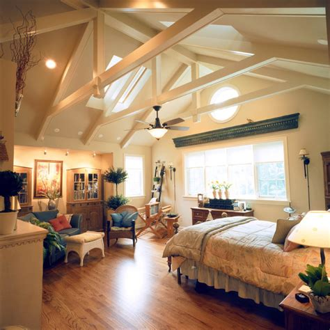 How To Decorate A Vaulted Ceiling by Classic Home With Vaulted Ceilings Traditional Bedroom