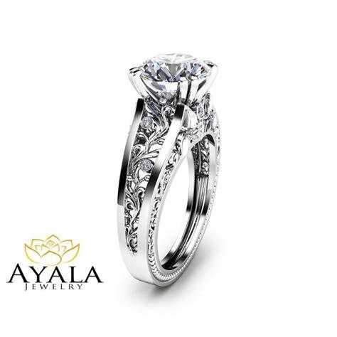 unique deco engagement rings filigree design engagement ring unique 2 carat ring solid 14k white gold ring