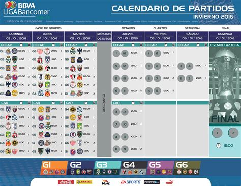 Calendario Liga Mx America 2016 Liga Mx P 225 Oficial De La Liga F 250 Tbol Profesional