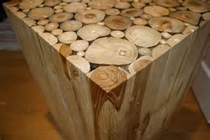 unique vintage wood block side table wood cuts alder