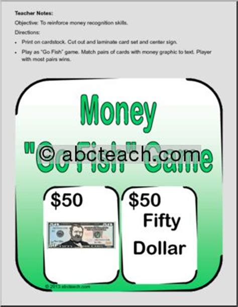 Fish For Money Gift Card - money games go fish money game matching cards abcteach