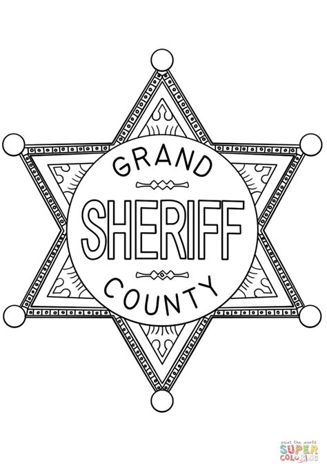 badge coloring page sheriff badge coloring page free printable coloring pages