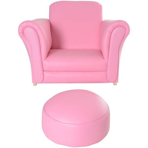 armchair pink kids pu leather look armchair sofa chair seat footstool