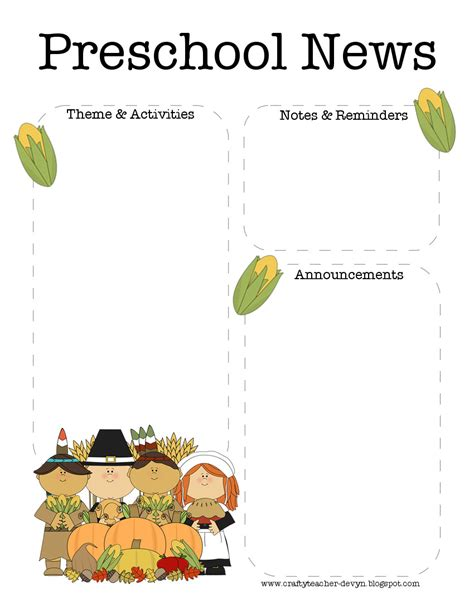 free newsletter templates for preschool the crafty november thanksgiving preschool