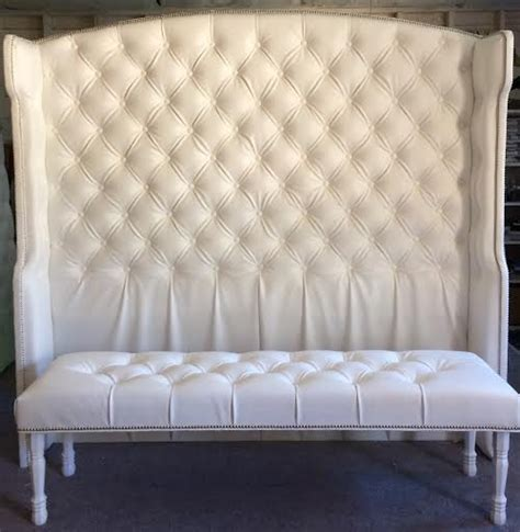 tall wingback headboard diamond tufted slightly arched wingback headboard and bench