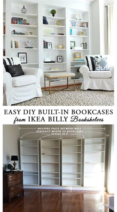 ikea hacks pinterest how to build diy built in bookcases from ikea billy
