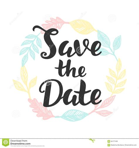 save the date hand lettering stock vector image 84177438