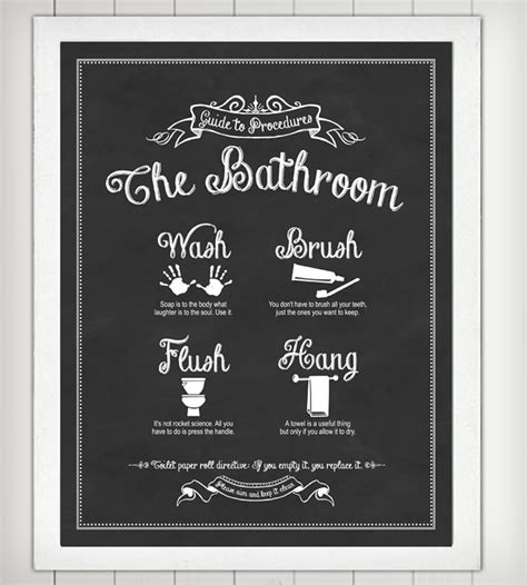 poster bathroom guide to procedures bathroom print art prints posters