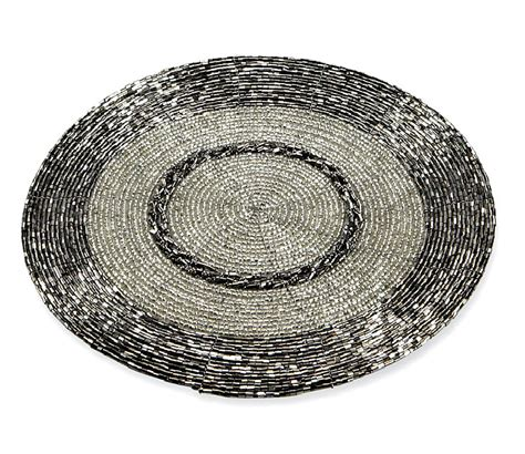 silver beaded place mats silver table setting tablescape decor