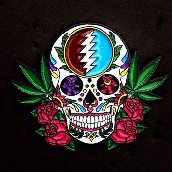 skull pot leaf tattoo designs grateful dead pin sugar skull pot leaf