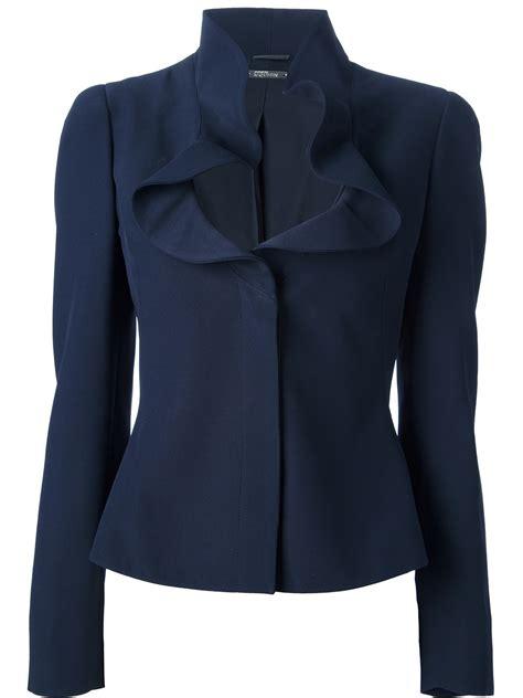 Ruffle Jacket lyst mcqueen ruffle collar jacket in blue