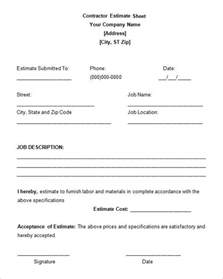6 Work Estimate Templates Free Word Amp Excel Formats