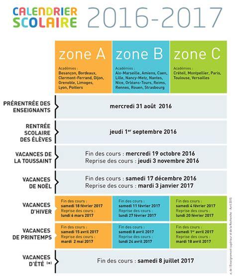 Vacances 2017 Zone Le Calendrier 2016 2017 Des Vacances Scolaires Des Zones A
