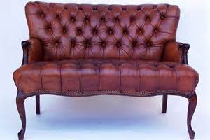 Antique Leather Sofas For Sale Pair Of Matching Tufted Leather Loveseats For Sale