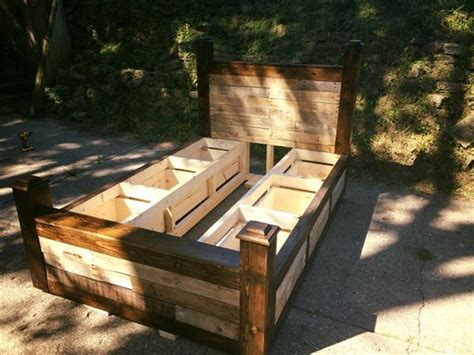 diy pallet bed frame with drawers pallet furniture plans