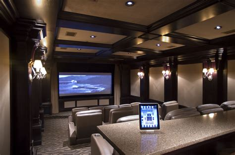 home theater design in modern style with three lighting